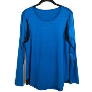 Lucy Activewear Blue Long Sleeve Perforated Black